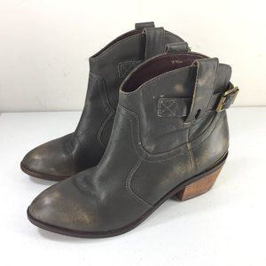 Lucky Brand 7.5 Gray Distressed Leather Ankle Boot